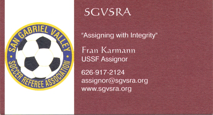 San gabriel valley soccer referee association business cards karmann reheart Image collections